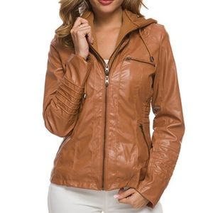 Faux vegan leather camel brown moto jacket med